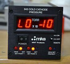 MKS 943 COLD CATHODE PRESSURE HIGH VACUUM CONTROLLER wtih Gauge / Cable
