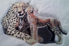 CHEETAHS BABY SET OF 2 HAND TOWELS EMBROIDERED