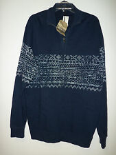 Cremieux Collection New Mens Utility Wear Navy 1/2 Zip Sweater XL Shirt