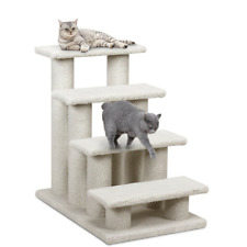 4-Step Pet Stairs Carpeted Ladder Ramp 8 Scratching Post Cat Tree Climber Relax