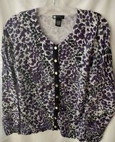 Womens Cardigan Sweater CAROLE LITTLE Sz Large L Black Animal Print Cotton Blend