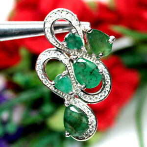 NATURAL 5 X 7 mm. GREEN EMERALD & WHITE CZ PENDANT 925 SILVER STERLING
