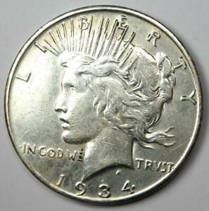 """1934-S Peace Silver Dollar $1 - XF / AU Details - Rare """"S"""" Mint Coin!"""