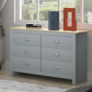 Traditional 6 drawer Bedroom Chest of Drawers. Light Oak Top.Soft Grey Finish.