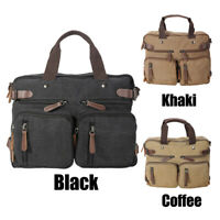 Vintage Leather Canvas Mens 14''Laptop Backpack Shoulder Bag Travel Outdoor Tote