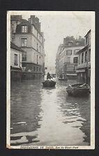 PARIS V° / CRUE 1910 , Rue du HAUT-PAVE inondation animée