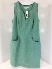 BODEN WOMEN'S NATHALIE SLEEVELESS LNEN DRESS GREEN UK10L/US6L NWT $110