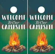 Welcome to Our Campsite Cornhole Board Skin Wrap Decal -LAMINATED