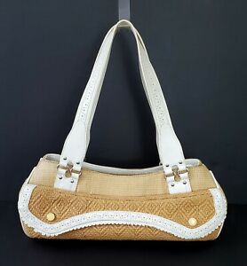 COLE HAAN Megan Beige Straw & Ivory Leather Satchel Shoulder Bag