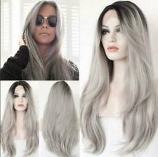Lace Front Wig New Fashion Gorgeous Women's Long Gray Straight Natural Full Wigs