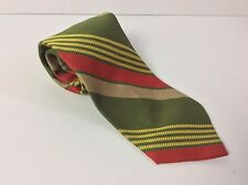Vintage Brent Brand Neck Tie * Green W Red And Yellow Stripes