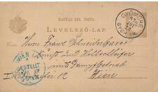 """HUNGARY MAGYARORSZÁG POSTAL CARD # P 14 """"GYŐMŐRE"""" TO AUSTRIA (1897)"""