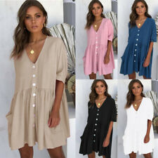 Summer Women Smock Dress Top Ladies Holiday Beach Casual Loose Shirt Sundress sz