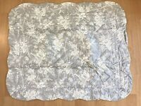 """NEW Gray Floral Quilted Pillow Sham Standard Scalloped 20x26"""" KEECO *Read"""