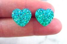 SPARKLING DRUZY RESIN GREEN/BLUE HEART STUD EARRINGS 12MM