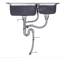 Double Kitchen Sink Strainer with Drain Hose Drainage Waste Pipe for Australia