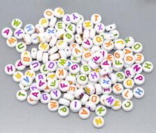 500 Coloured Letter A-Z White Alphabet Beads 7mm Childrens Beads J10530V