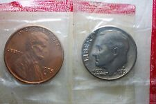 1975 D USA  Sealed Lincoln Cent  and  Dime