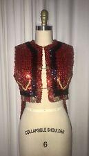 Eloise Curtis Happenstance Sequin Vest Costume With Buttons Chains Tails Sz. SM