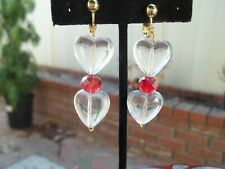 Red Beaded Dangling Clip On Earrings Gorgeous Clear Chunky Heart & Round
