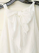 XLarge WHITE Eyelet Shift Dress Halter Top Bow tie ITALIAN comfortable NWT