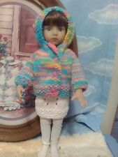 """4  Pc Hand Knit Hoodie Outfit for 13"""" Diana Effner Dolls +similar size dolls too"""