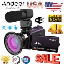 Andoer WiFi 4K HD 1080P 48MP Digital Video Camera Camcorder DV DVR & Mic & Lens