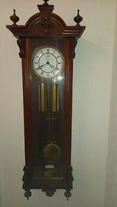 Kieninger Vienna Double Weight regulator wall clock with mahogany case