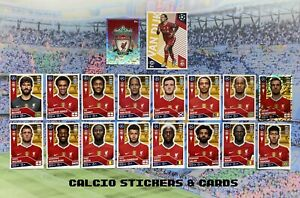 Topps Champions League 2020/21 Liverpool Full Team Set All 18 Stickers Loose