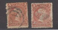 Canada QV 1868 3c Brown Red x 2 SG58 Fine Used JK2245
