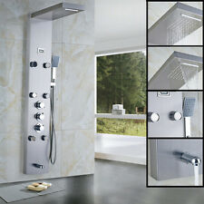 Thermostatic Brushed Nickel Shower Panel Tower Waterfall Rain W/Massage Jet Tap