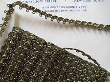 "3 Yds Tiny Dark Gold Metallic/Green Scallop Trim 3/8"" Lampshade Pillow Doll"