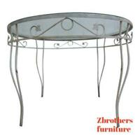 Vintage Round Outdoor Patio Porch Ivy Iron Dinette Dining Table
