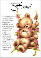 To My Dearest Friend A5 Card Thinking of you, Friends Caring Love