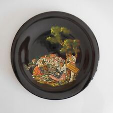 Assiette céramique faïence fait main noir scène Romantisme Art Déco France N3114