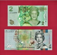 1/2 Half Dollar 2019 Bahamas (P-New) & 2 Two Dollars FIJI 2011 (P-109) UNC NOTES