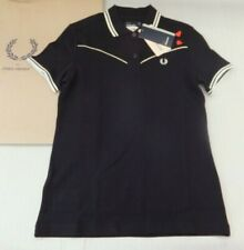 FRED PERRY Amy Winehouse Ladies Piped Pique Polo Shirt UK 8 BNWT Black