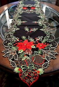 "Christmas Holiday Decor Table Runner Red Poinsettia Elegant Silky Black 68""x 13"""