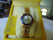 Invicta Ladies 24mm Pro Diver Champagne Dial 18K Ion-Plated Gold SS Watch LQQK!!