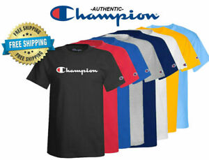 Champion T-shirt (S-3XL)(11 Colors) Mens Script Logo T-Shirt