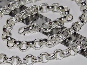 Solid Sterling Silber 55.9cm Schwer Venezia Kette - 10mm Muster & Schlicht -
