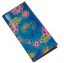 Genuine Leather Check Book Cover,Hawaii Scenery Pattern on Both Side, Blue