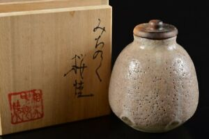 L7347: Japanese Sakura-ware glay glaze TEA CADDY Chaire Container w/signed box