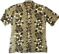 Island Traditions Hawaiian Aloha Shirt Green Tropical Leaf Floral Pattern XL