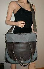 WILSONS LEATHER & CANVAS MESSENGER LAP TOP WORK OVERNIGHT BAG GRAY BROWN BIG