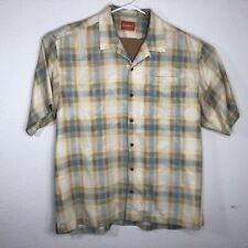 Tommy Bahama Mens XL Shirt Short Sleeve Silk Tree Plaids Yellow Pocket