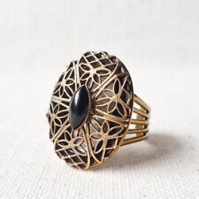Jan Michaels Antique Brass Lace Locket Ring with Black Onyx Vintage Style Unique