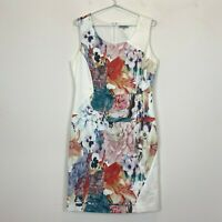 Table Eight Womens Cream Floral Sleeveless Lined Dress Size 12