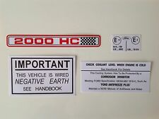 Ford Escort MK1/MK2 RS2000 AVO Bajo Capó Motor Bay Decal Sticker Set