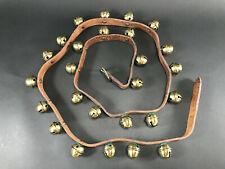 "Vintage Brass Sleigh Bells 73"" Brown Leather Horse Harness Belt 26 Bells Vguc"